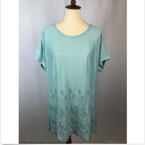 Soft Surroundings Blue Sequin Eyelet Shirt S/M NEW